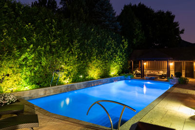 Backyard Pool Lighting After